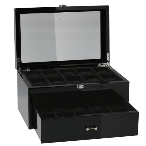 Piano Black Watch Collectors Box with Drawer for 20 Wrist watches by Aevitas