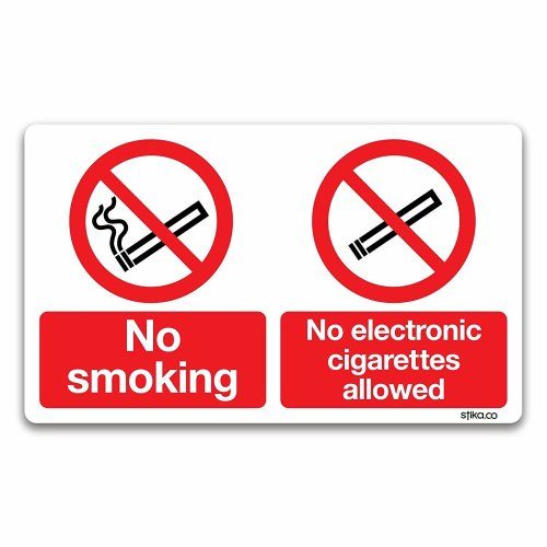 No Smoking/No Electronic Cigarettes Sign - Smoking Area Prohibition Safety Signs (White Vinyl, 100 x 166mm)
