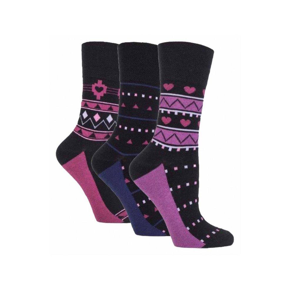 3 Pairs Ladies Plain Brown Gentle Grip Cotton Everyday Cotton Socks Size 4-8