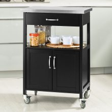 SoBuy® FKW22-SCH, Kitchen Cabinet Kitchen Storage Trolley, Black
