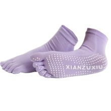 Women's Non Slip Full Toe Yoga Socks With Grip 2 Pairs Set,Purple