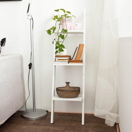 SoBuy FRG32-W 3-Tier Ladder Shelf | White 3 Shelf Ladder Bookcase
