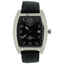 Chelsea FC Mens Black Dial Date Black Leather Strap Football Watch GA3732