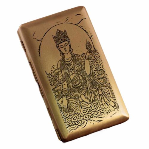 Chinese Style Brass Cigarette Case Creative Thin Cigarette Holder Box Cigarette Storage Case Holder