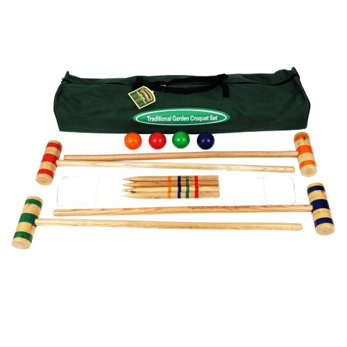 Quality Croquet Set in Canvas Bag (96cm Mallets)