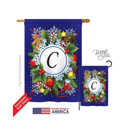 Breeze Decor 30081 Winter C Monogram 2-Sided Vertical Impression House Flag - 28 x 40 in.