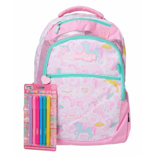 Smiggle Backpack Let's Go (with DIY Fabric Marker Pens x6 Pack) (Pink)