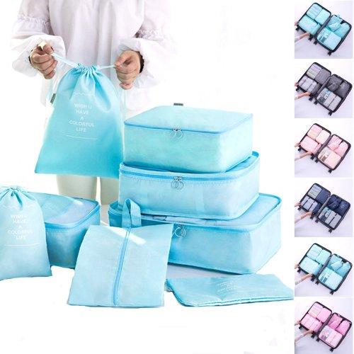 8PCS Travel Luggage Organizer Set Storage Pouches Suitcase Packing Bags