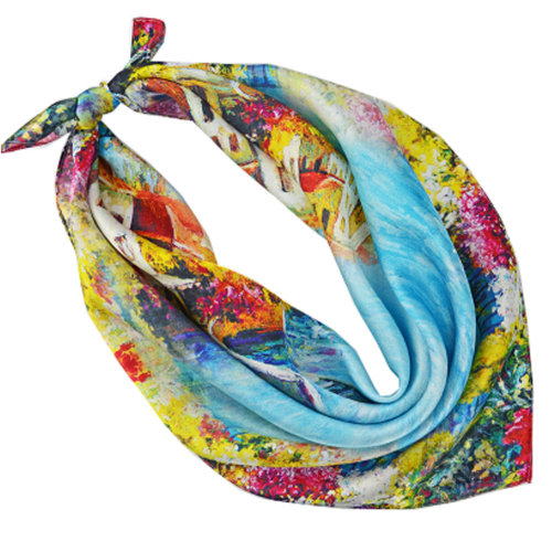 High-gradel Mirage Painting Small Squares Female Silk Scarves,Blue