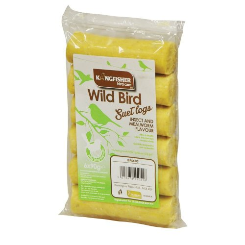 King Fisher Insect and Mealworm Suet Logs, Pack of 6
