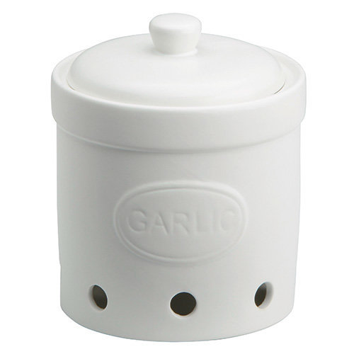 The Drh Collection BIA Embossed White Pottery Garlic Cellar 401847