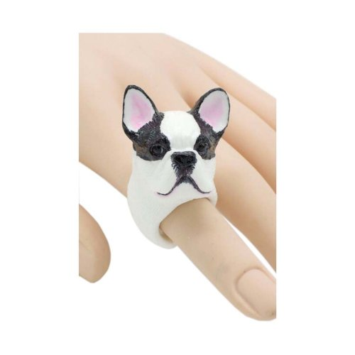 Interesting Handmade Resin Simulation French Bulldog Ring