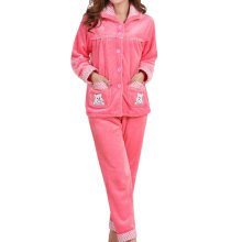 Casual Pajama Set Warm Sleepwear Home Apparel Flannel Pajamas X-large-A1