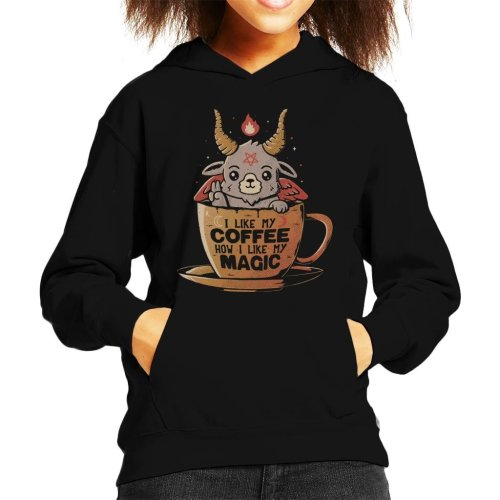 Black Coffee Cute Baphomet Kid's Hooded Sweatshirt