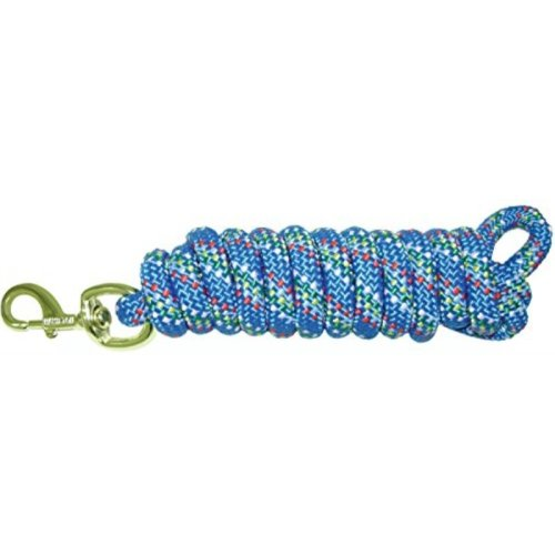 """Hamilton Extra Heavy Poly Rope Lead with Bull Snap, Bluf Confetti Weave, 5/8"""" Thick x 10' Long"""