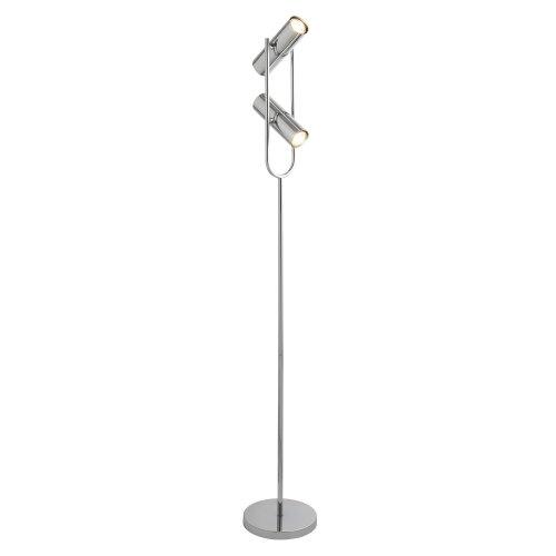 2 Light Cylinder Shade Floor Lamp In Chrome