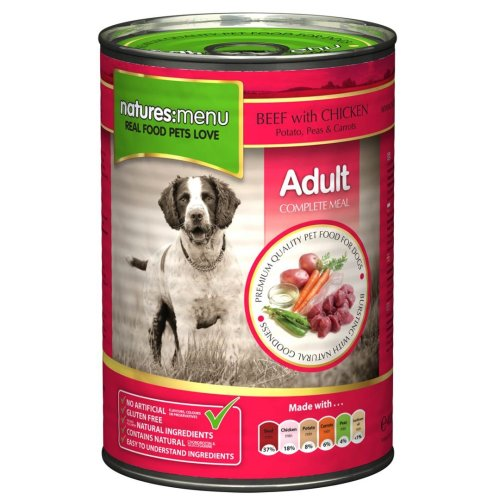 Natures Menu Dog Can Beef & Chicken With Veg 400g (Pack of 12)