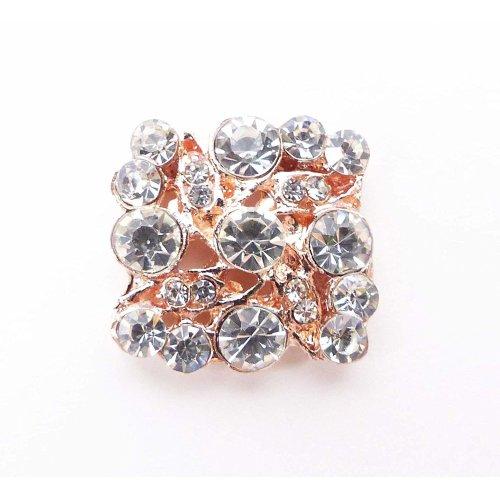 10 x Rose Gold Colour Square Diamante Embellishments Grade A Rhinestones
