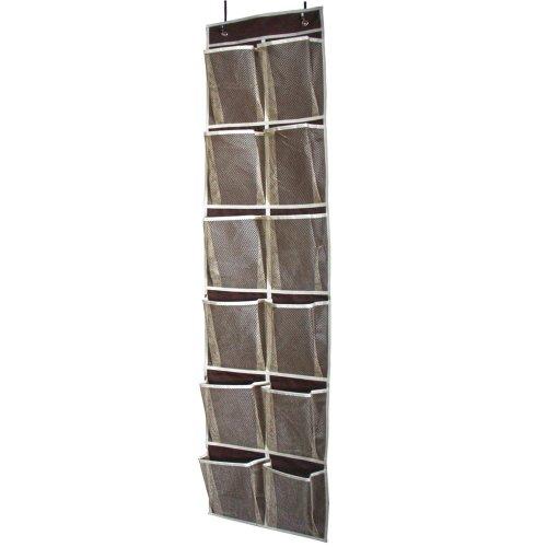 MISSLO Heavy Duty Over Door Shoe Organiser for Narrow Door with 12 Mesh Pockets (Coffee)