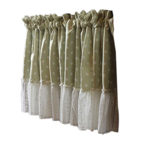 Lovely Cafe Curtain Window Valance/Lace Curtain, Light Green(130*50 cm)