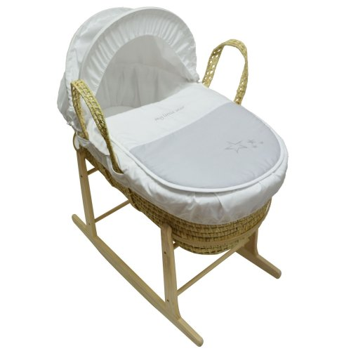 Beautiful Moses Basket And Natural Rocking Stand Grey My Little Star Palm