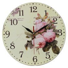 Obique Home Decoration MDF Pale Blush Pink Peony Scene 28cm Wall Clock