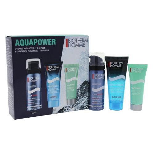 Aquapower Dynamic Hydration by Biotherm for Men - 3 Pc Kit 1.69oz Foam Shaver, 1.35oz Aquafitness, 0