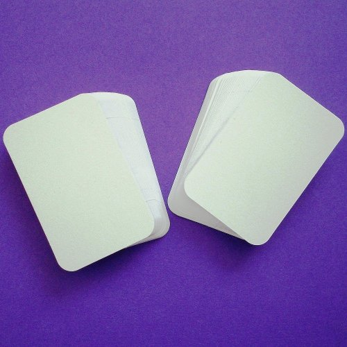 100 x White Rounded Blank Business Cards - 250gsm Ultra White Card