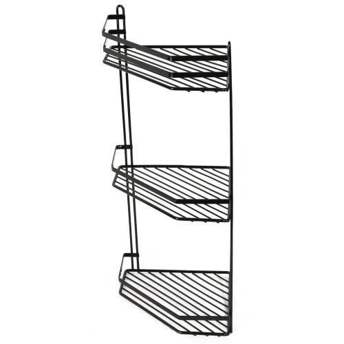 3-Tier Black Wall-Mounted Shower Caddy | Rustproof Corner Shower Basket