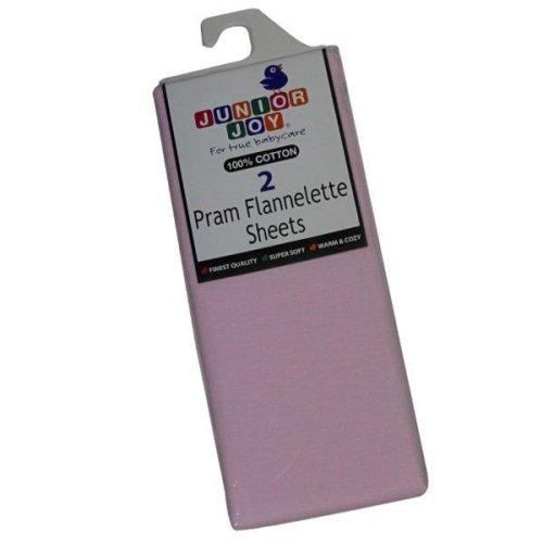 2 x Junior Joy Baby Pram Flannelette Sheets 100% Soft Cotton Pack - Pink