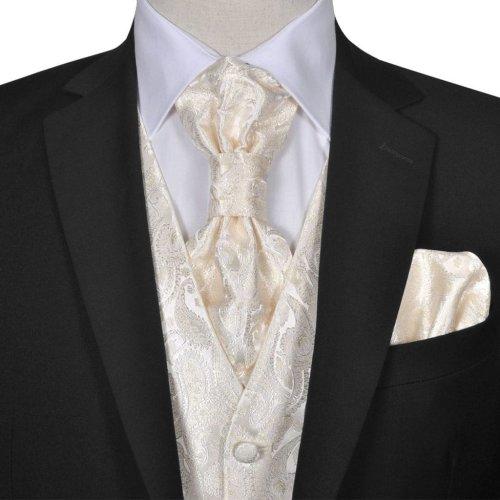 Men's Cream Paisley Wedding Party Prom Cruise Waistcoat &Tie Set Suit Size 50