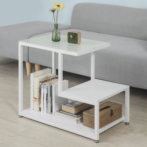 SoBuy® FBT65-W, 2 Tiers Side Table End Table Coffee Table, White