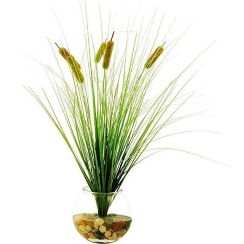 Designs by Lauren 14W71 23 in. Cattails in a Clear Glass Bowl with River Rocks & Acrylic Water