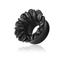 Natural Organic Black Areng Wood Hand Carved Lotus Flower Burst Hollow Ear Tunnel Saddle Plug Piercing Finest Quality Materials