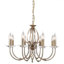Aged Brass 8lt Chandelier - 8 x 60W E14 by Happy Homewares