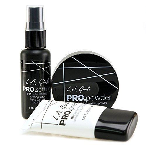 LA Girl Basic Face Cosmetics Combo (3pcs Set - Pro Smoothing Face Primer, Pro Setting Spray, HD Pro Setting Powder)