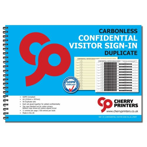 Cherry NCR Confidential Visitor Sign in Duplicate Book A4 50 Sets