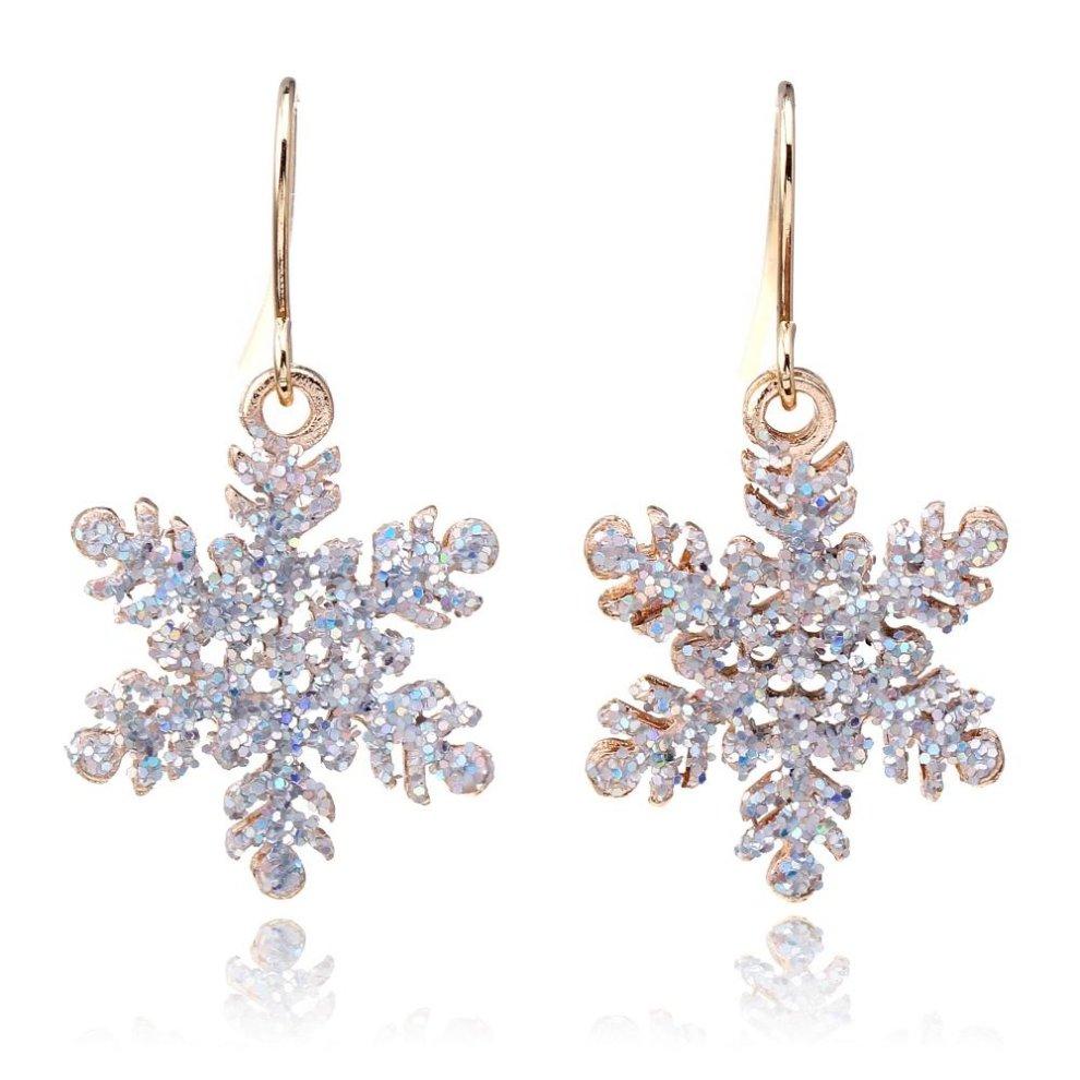 2e296cd85 Silver-Tone Glitter Snowflake Drop Dangle Hook Earrings 4.0cm Christmas Snow  Ladies Xmas ...