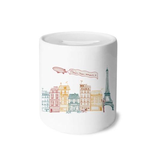 Paris Airship France Mark Line Drawing Money Box Saving Banks Ceramic Coin Case Kids Adults
