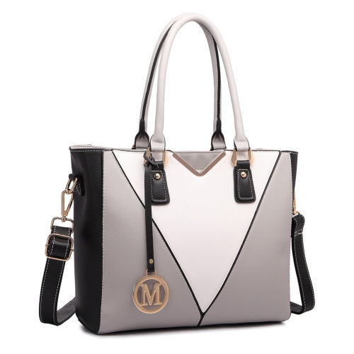Miss Lulu V-Shape Faux Leather Handbag | Shoulder Tote Bag
