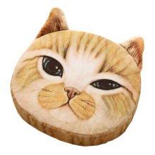 Realistic Personality Pillows Plush Toys 3D Cartoon Cat Head Meow Yellow Cushion