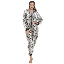Womens Ladies Supersoft Grey Snow Tiger Hooded All In One Pyjama Oneise
