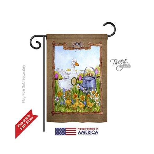Breeze Decor 55046 Birds Duck & Duckies 2-Sided Impression Garden Flag - 13 x 18.5 in.