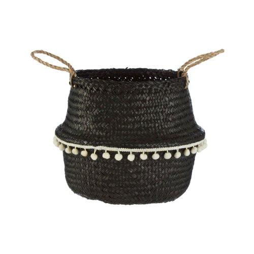 Black Seagrass Belly Basket White Pom Pom Trim, Small
