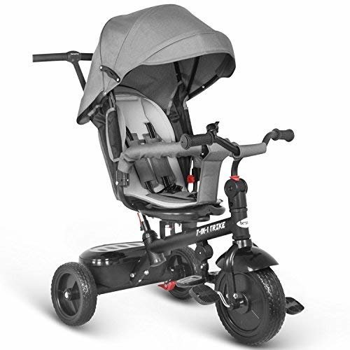besrey Tricycle 7 in 1 Trike Baby Walker Bike Kids Push Stroller with 360° Rotating and Reclining Seat - Grey
