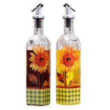 2PCS Beautiful Glass Oil Bottle Vinegar Bottle Oil Container Cruet, NO.2