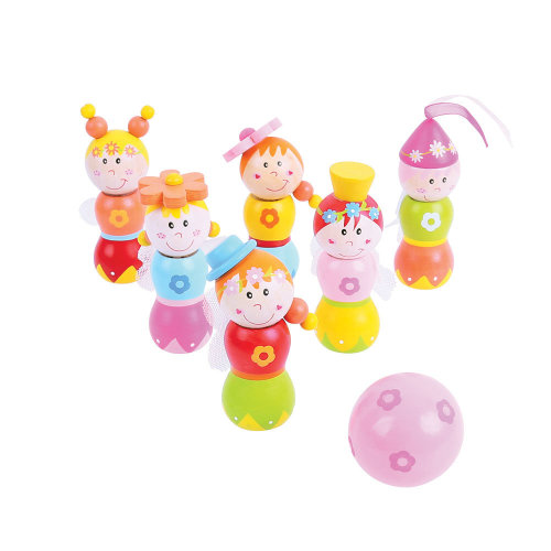 Bigjigs Toys Mini Wooden Fairy Skittles Set with 6 Skittles and 1 Bowling Ball