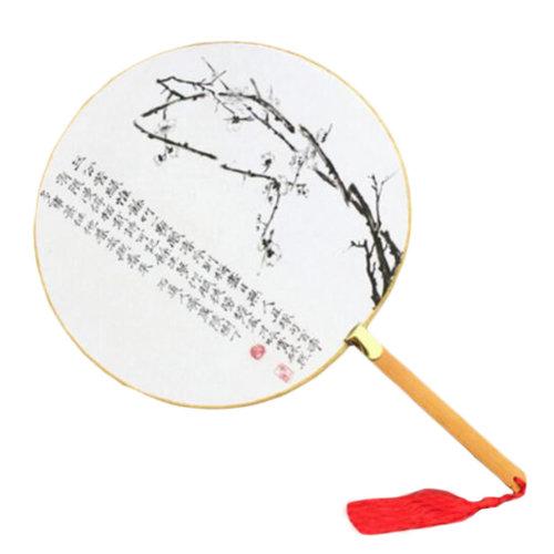 2PCS Elegant Retro Bamboo Handle Round Hand Fabric Fan Print Decor-Plum Blossom