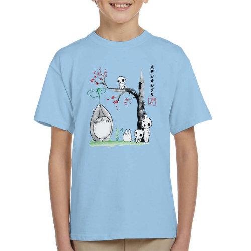 Studio Ghibli Growing Trees Sumie Totoro Kid's T-Shirt