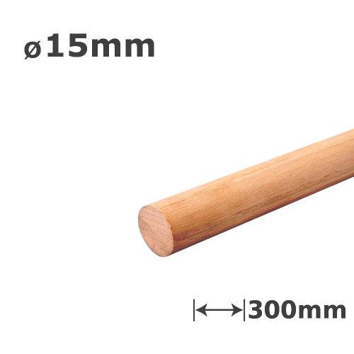 Oak Dowel Smooth Wood Rod Pegs - 300mm length, 15mm diameter